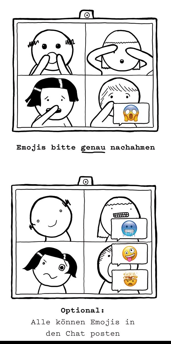 Für das Warm Up muss man im Online Meeting Emojis nachahmen.
